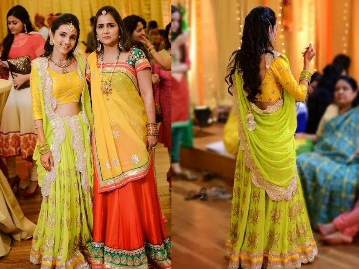 Lehenga For Mehndi Ceremony : Lime green and yellow lehenga by trupsel boutique opposite