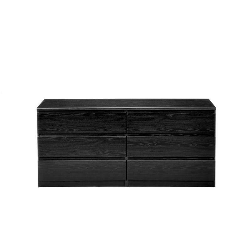 Tvilum Scottsdale double chest of 6 drawers made of black wood grain ,  #black #Chest #Double #Drawers #glossywhitebedroomfurniture #grain #Scottsdale #Tvilum #Wood