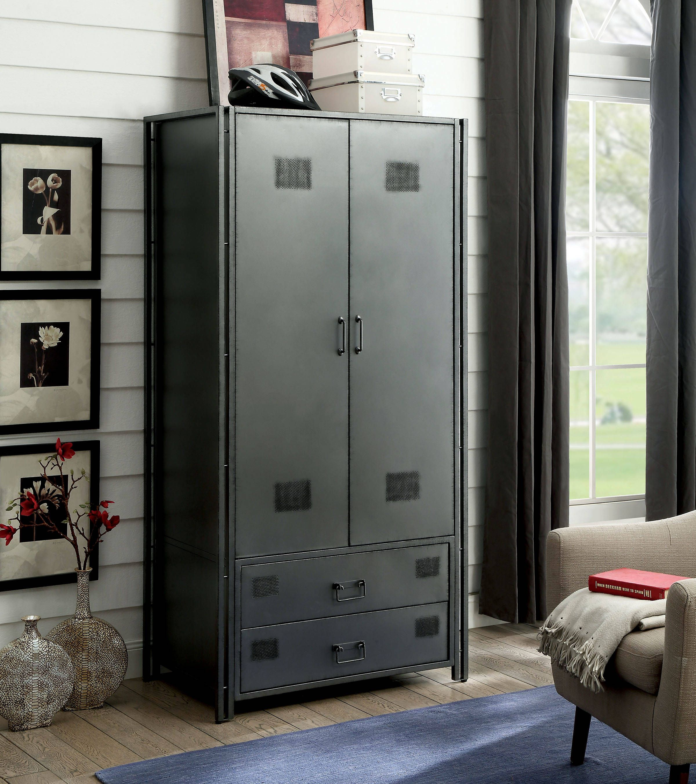 gray bedroom armoire in january 2021