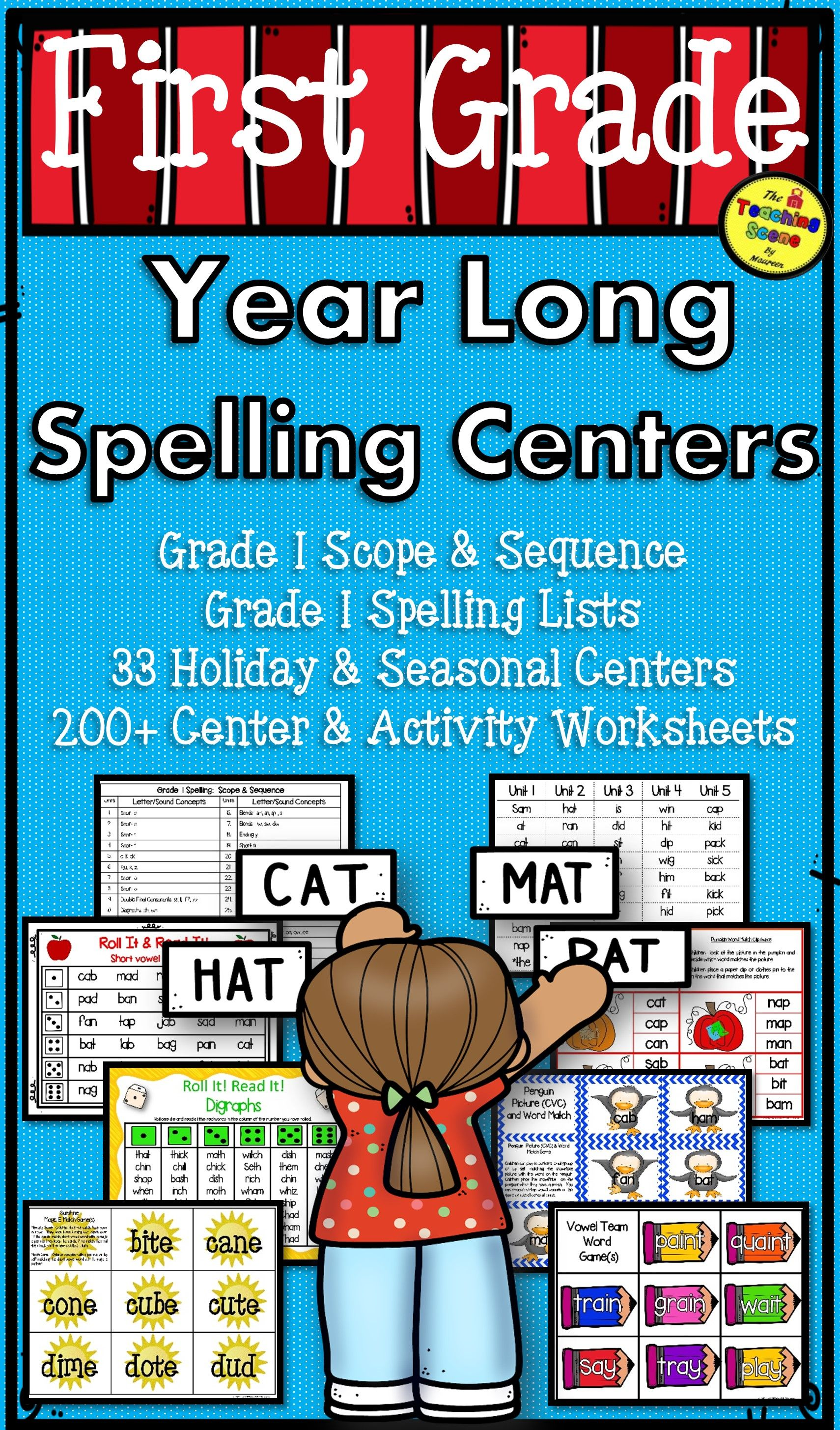 First Grade Year Long Spelling Units Centers Amp Activities