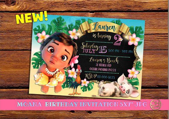 Moana Invitation Birthday Baby