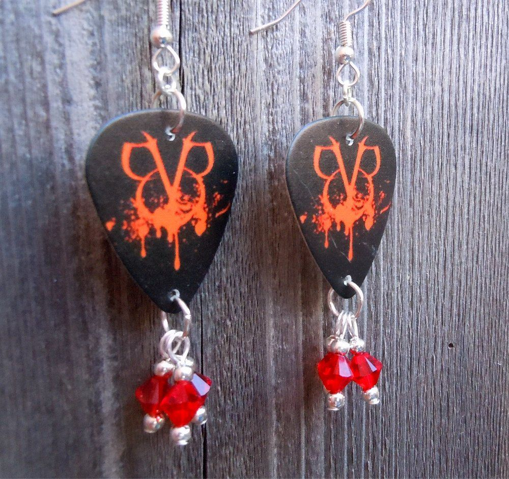 Black Veil Brides Logo Guitar Pick Earrings With Red Crystals