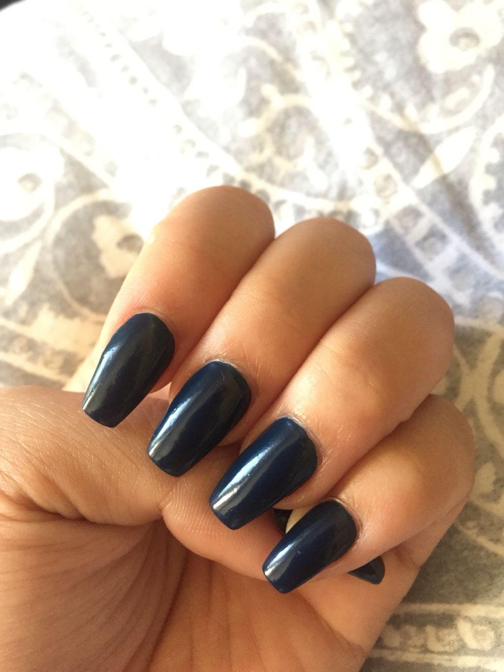 Acrylic coffin shaped cute dark blue black nails | Nails | Pinterest ...