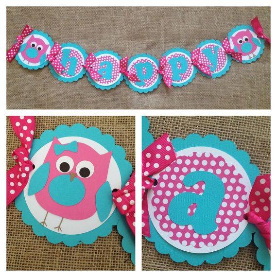 Owl Birthday Banner, Happy Birthday Banner, Pink Aqua