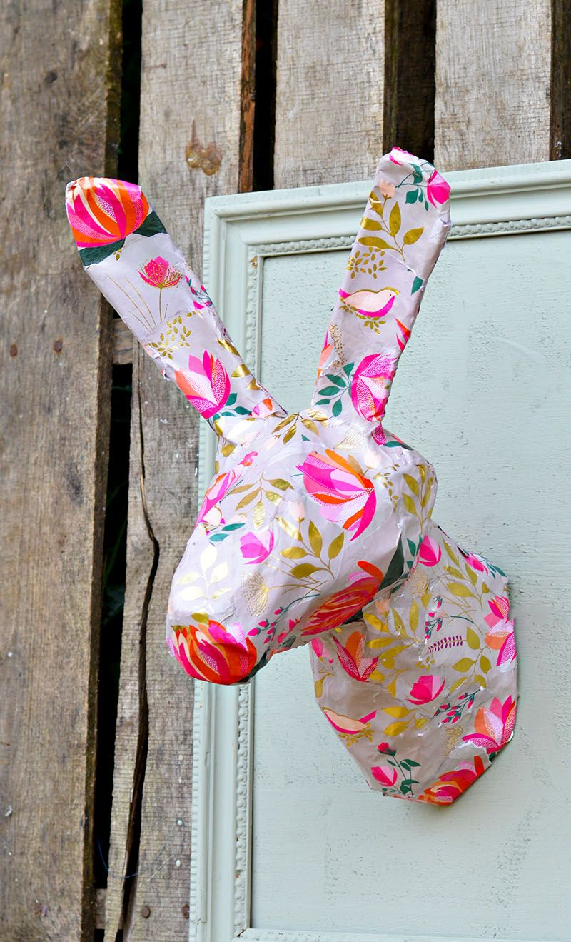 DIY gorgeous spring/Easter wall decoration. An Anthropologie knock off rabbit head.
