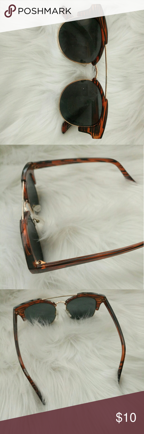 2abdf81bcb5dc9 Beautiful Flat Top Bar Sunglasses Animal Print Brown Frames. Gold flat-top  Bar Black 100UV Lens Lovely Sunglasses Cherokee Accessories Sunglasses
