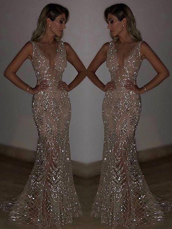Blingbling Sequined Mermaid Evening Dress #eveningdresses