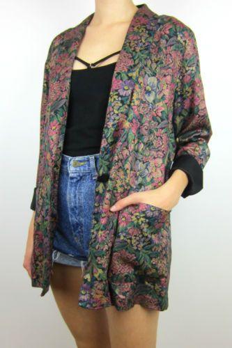 vintage carpet patterned embroidered blazer jacket top grunge mod hipster m 80's   eBay