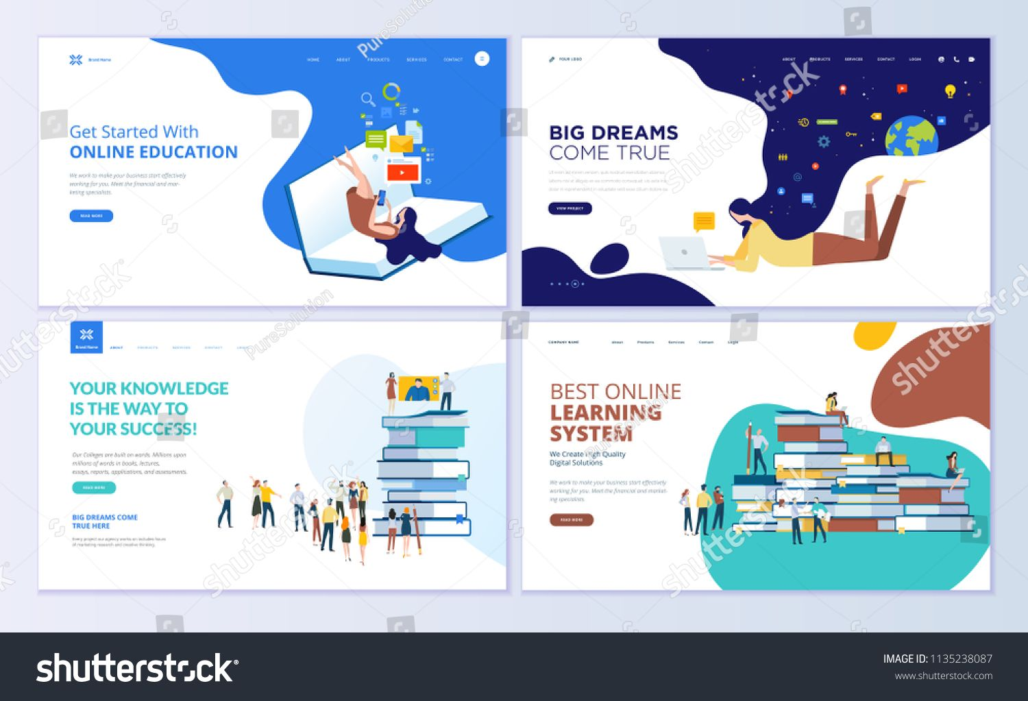 Set Of Web Page Design Templates For Online Education Training And Courses Learning Video Tutorials Modern Web Template Design Template Design Page Design