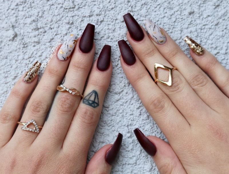 wine coloured coffin nails with marble #marblenails #winenails ...