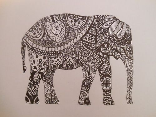Mehndi Elephant Coloring Pages : Zentangle animals animal patterns elephant drawing