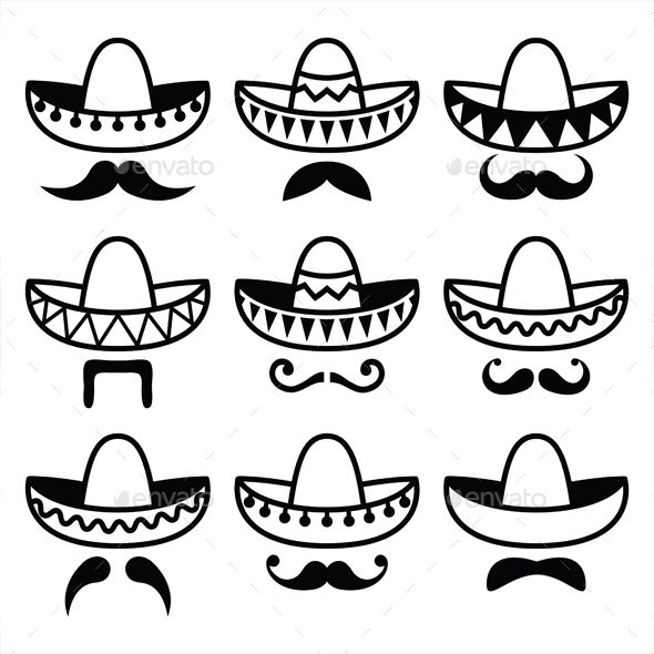 Vector black icons set of Sombrero isolated on white FEATURES  100 Vector  Shapes All groups have names All elements are easy to m 8ba1c976d64