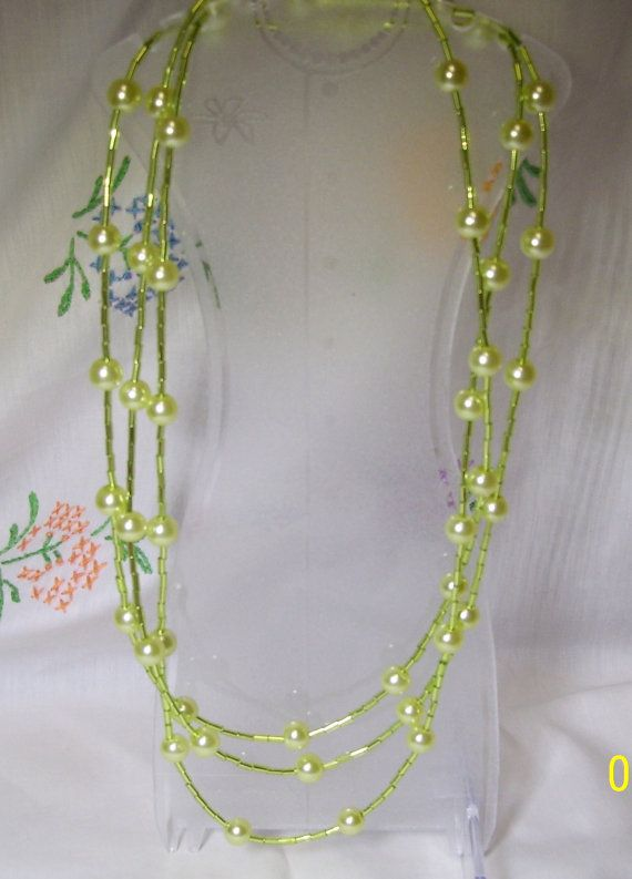 Lime Green 62 Inch Station Pearl Necklace by gartenglitz on Etsy, $22.00