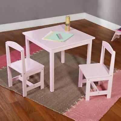 Kids Table Chair Set 3pc Wooden Furniture Children Toddler Pink Play Playroom & Kids Table Chair Set 3pc Wooden Furniture Children Toddler Pink Play ...