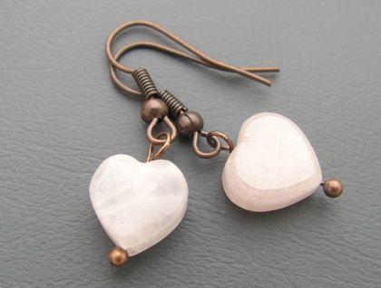 Rose+Quartz+Copper+Heart+Earrings
