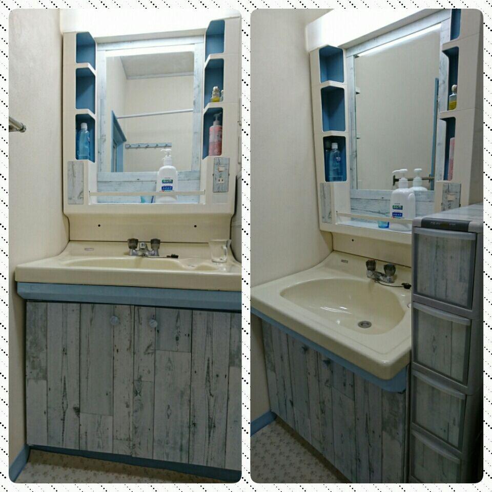 古い洗面化粧台と隙間家具 プラスティック リメイク 洗面台の扉は