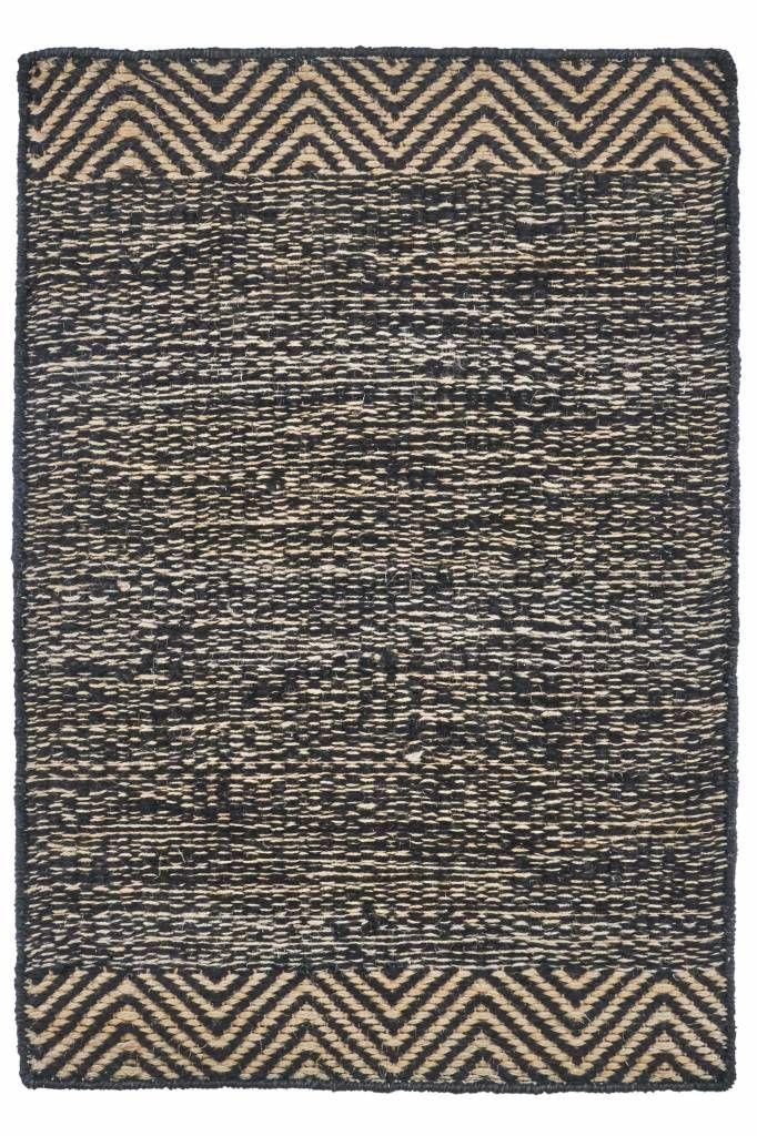 house doctor tapis pattern jute noir naturel. Black Bedroom Furniture Sets. Home Design Ideas