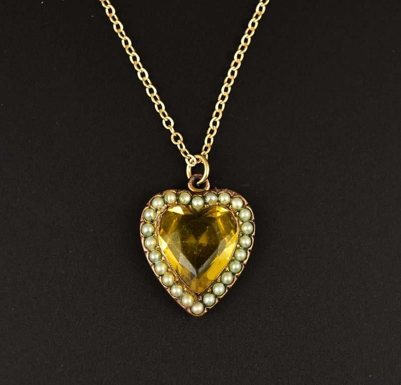 Split pearl citrine paste heart pendant neckace gold pendant split pearl citrine paste heart pendant neckace mozeypictures Image collections