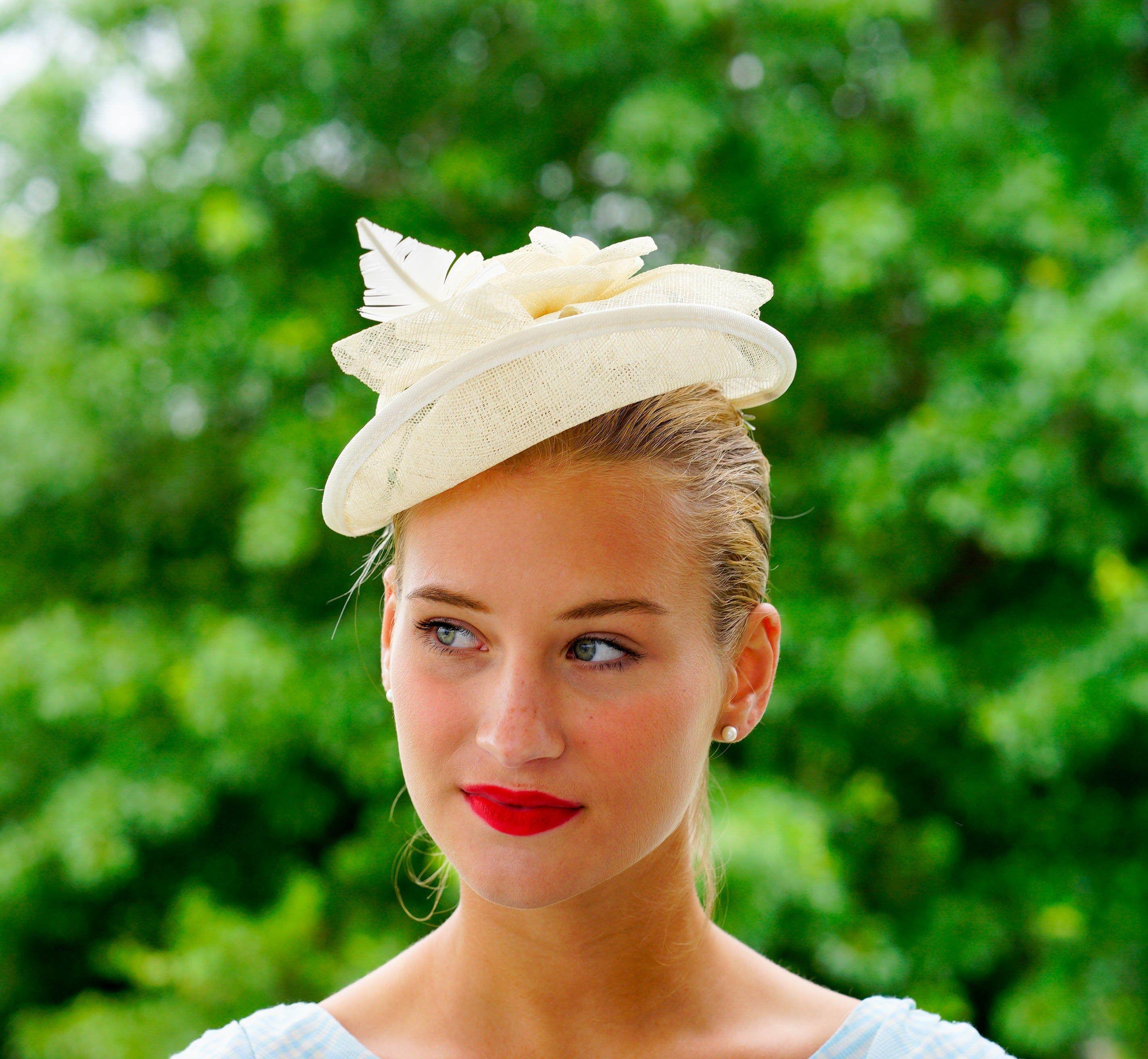 FS Beige Wedding Party Fascinator Cocktail Hat For Women