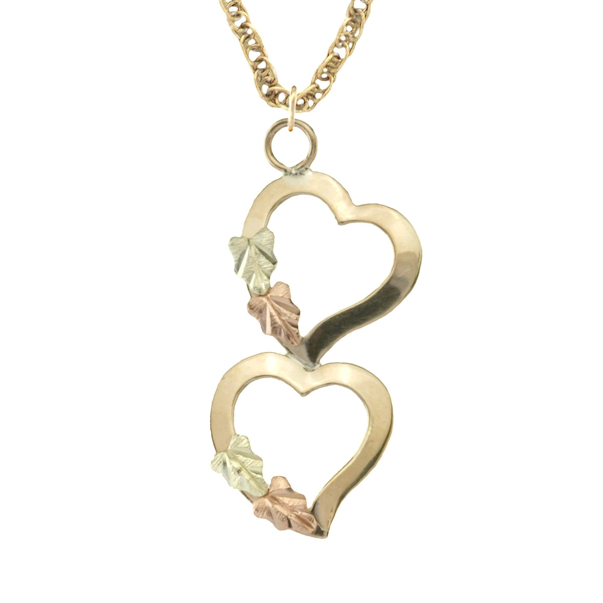 Black hills gold dangling hearts pendant necklace aloadofball Image collections