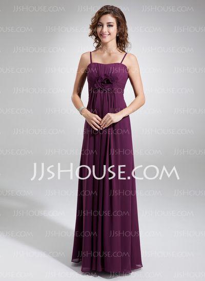 Bridesmaid Dresses - $118.99 - Empire Sweetheart Floor-Length Chiffon Bridesmaid Dress With Ruffle Flower(s) (007004300) http://jjshouse.com/Empire-Sweetheart-Floor-Length-Chiffon-Bridesmaid-Dress-With-Ruffle-Flower-S-007004300-g4300