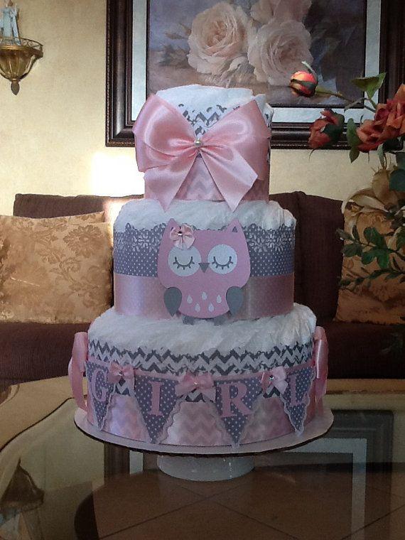 Owl Diaper Cake Pink And Grey Owl Diaper Cake Girl Diaper Cake Owl