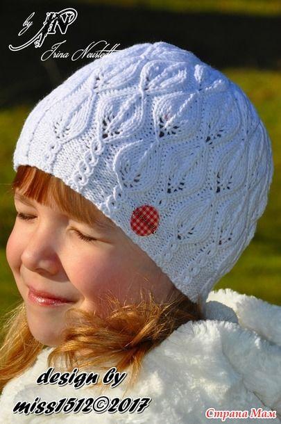ажурная шапка бини спицами схема вязания