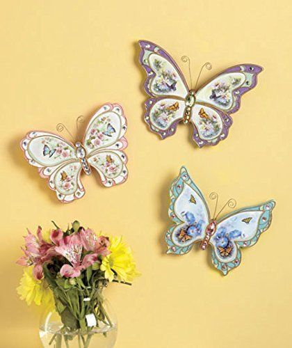 Set of 3 Beautiful Painted Jeweled Ceramic Butterfly Wall Hangings ...