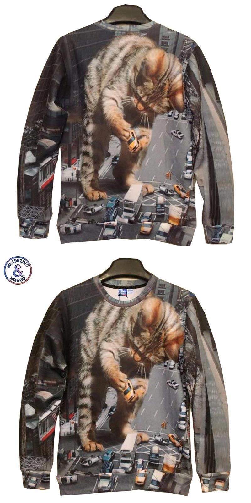 Mrinc big cat holding car print d sweatshirts menwomenus