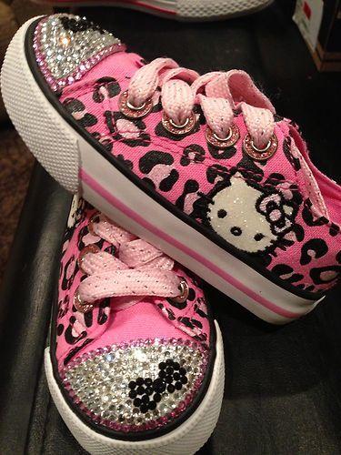 b40c188ba Sanrio Converse Little Girl Hello Kitty Pink Black Sparkle Shoes | eBay