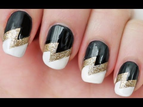 Lightning bolt nails using scotch tape the beauty counter how to paint lightning bolt nail art mani step by step diy tutorial instructions prinsesfo Gallery