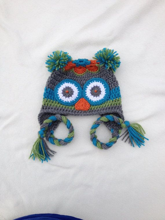 Crochet Owl Hat - Crochet Animal Hats - 12 to 24 months - Aqua ...