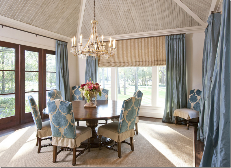 Contrasting Vaulted Ceiling Dusty Blue Curtains Ceilings Dining Room Beige RoomSunroom