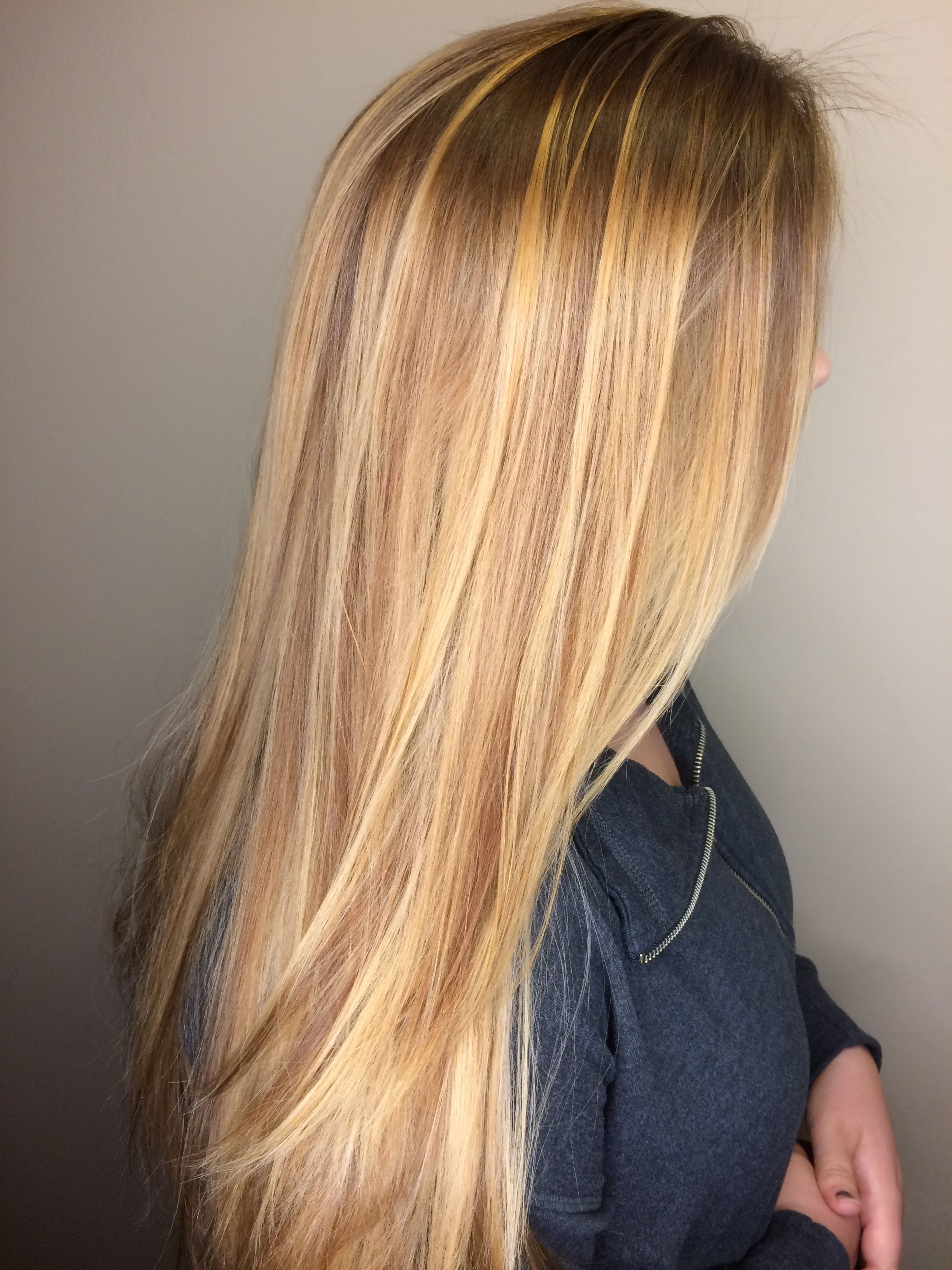 Honey Blonde Golden Blonde Long Hair Balayage Honey Blonde
