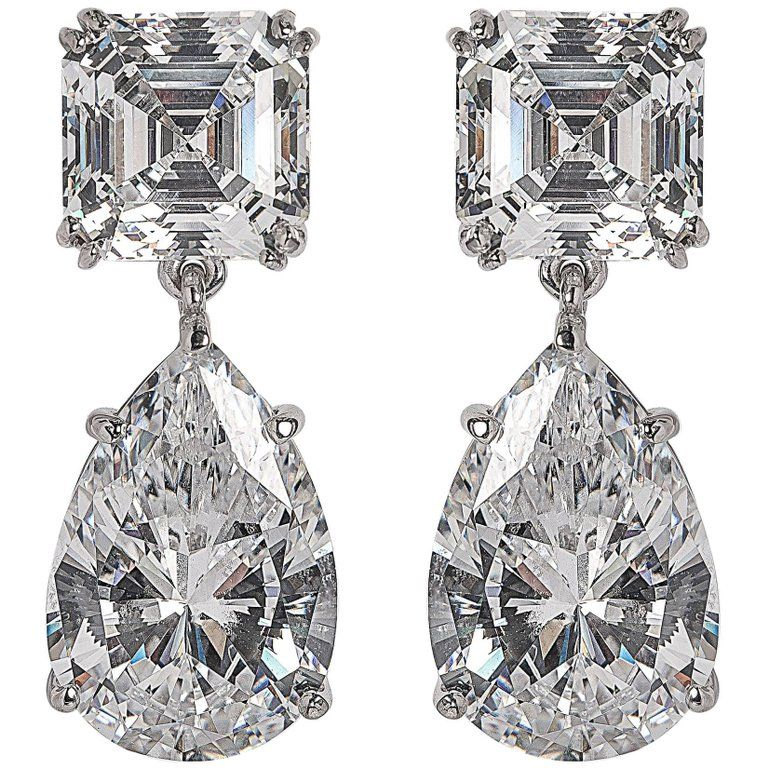 Magnificent Costume Jewelry Diamond Drop Earrings From A Unique Collection Of Vintage Chandelier At