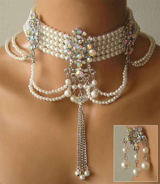 luxus trachtenschmuck perlen kropfkette weiss kristall in uhren schmuck ebay alles jagd. Black Bedroom Furniture Sets. Home Design Ideas