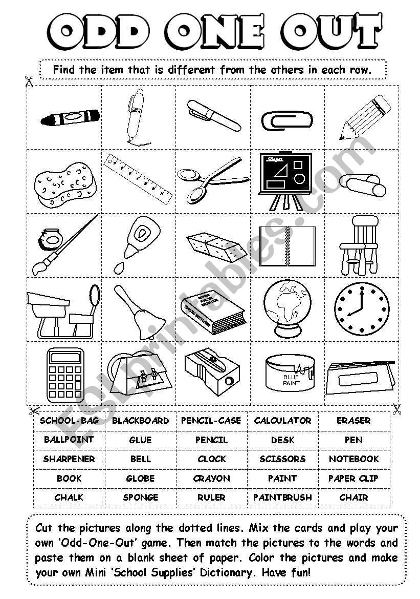 Levels 1 2 The Odd One Out Series Continues With School Supplies Have Fun School Supplies Worksheets Teaching English [ 1169 x 821 Pixel ]