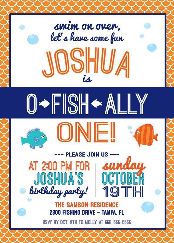 o fish ally one birthday party invitation fish birthday first