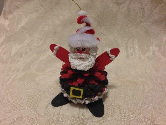 Hand Made Santa Pinecone Christmas Ornament by KrissiesKrafts, $600