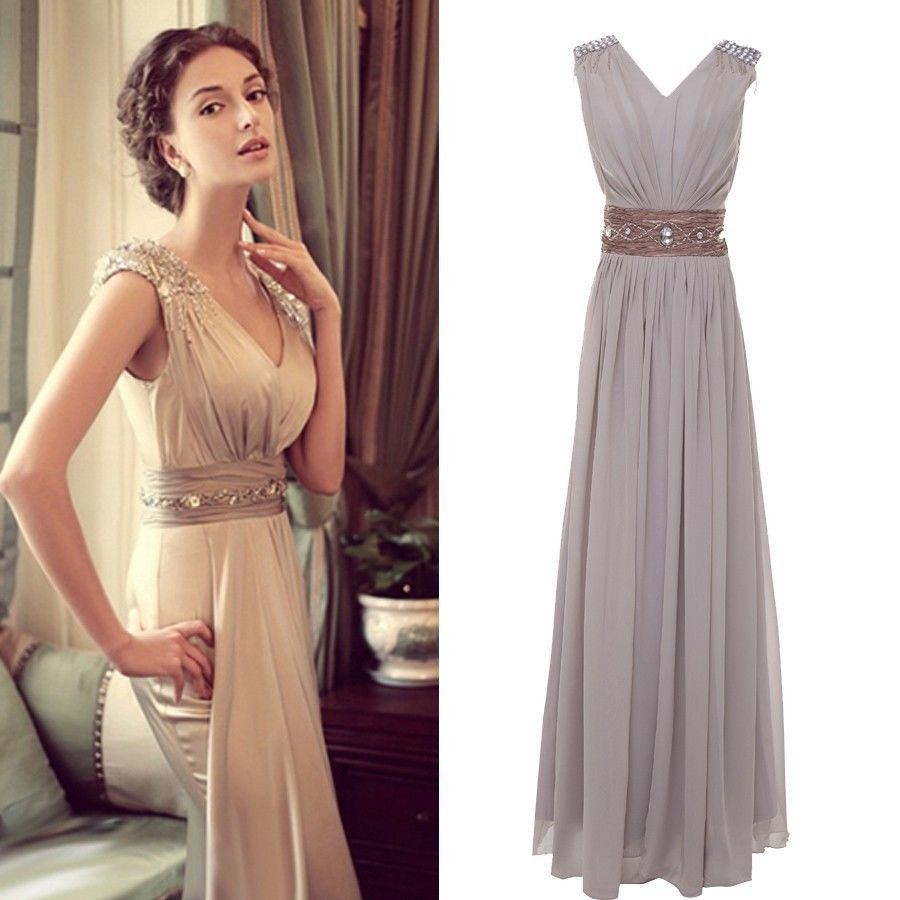 Details about V NECK Long Evening Formal Bridesmaid Wedding Ball ...
