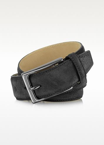 Moreschi Men's Dark Gray Leather Belt | FORZIERI