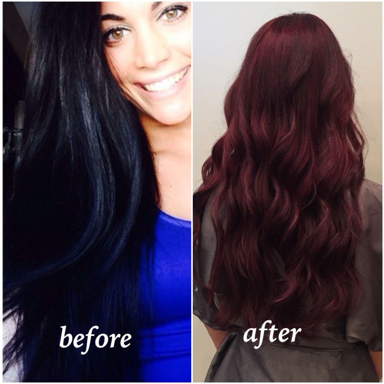 Hair Transformation Black To Deep Red Hair Transformation Long Hair Styles Hair Makeup