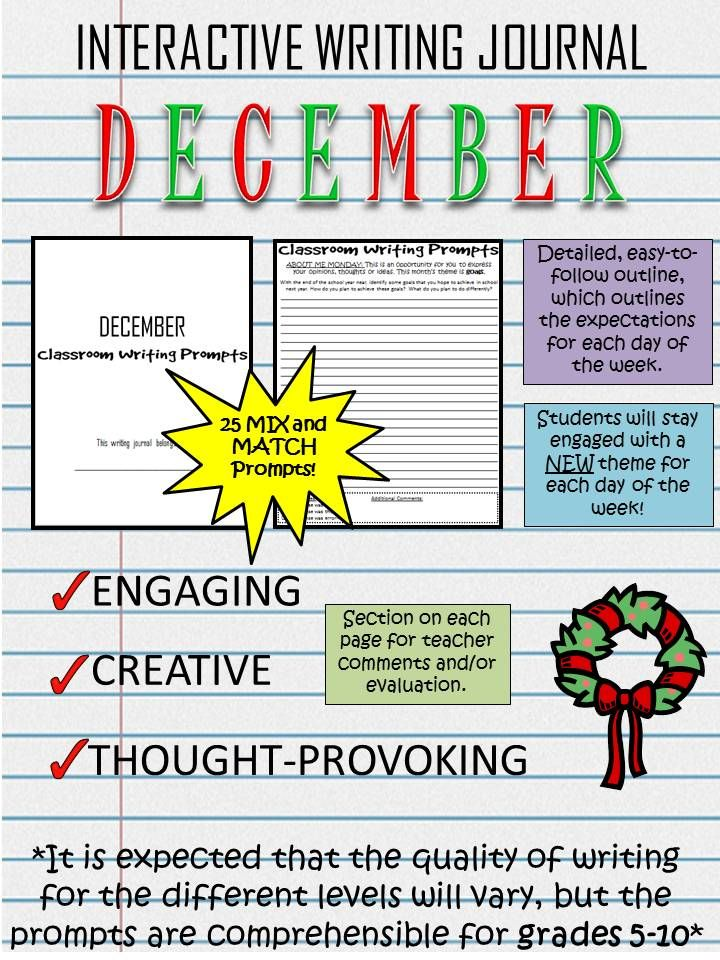 Start your class off with some engaging, creative and thought-provoking writing prompts! These December writing prompts are a great way to establish routine in your classroom. Each page includes a section for teacher evaluation/ comments, and each day of the week has a different topic/theme.