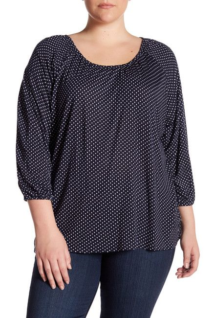 Image of Chelsea & Theodore Printed 3/4 Sleeve Shirt (Plus Size)