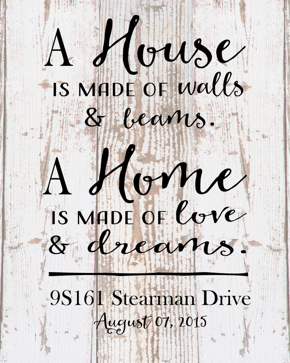 Custom Home Sign A Home Love and Dreams Address Date | Christmas ...