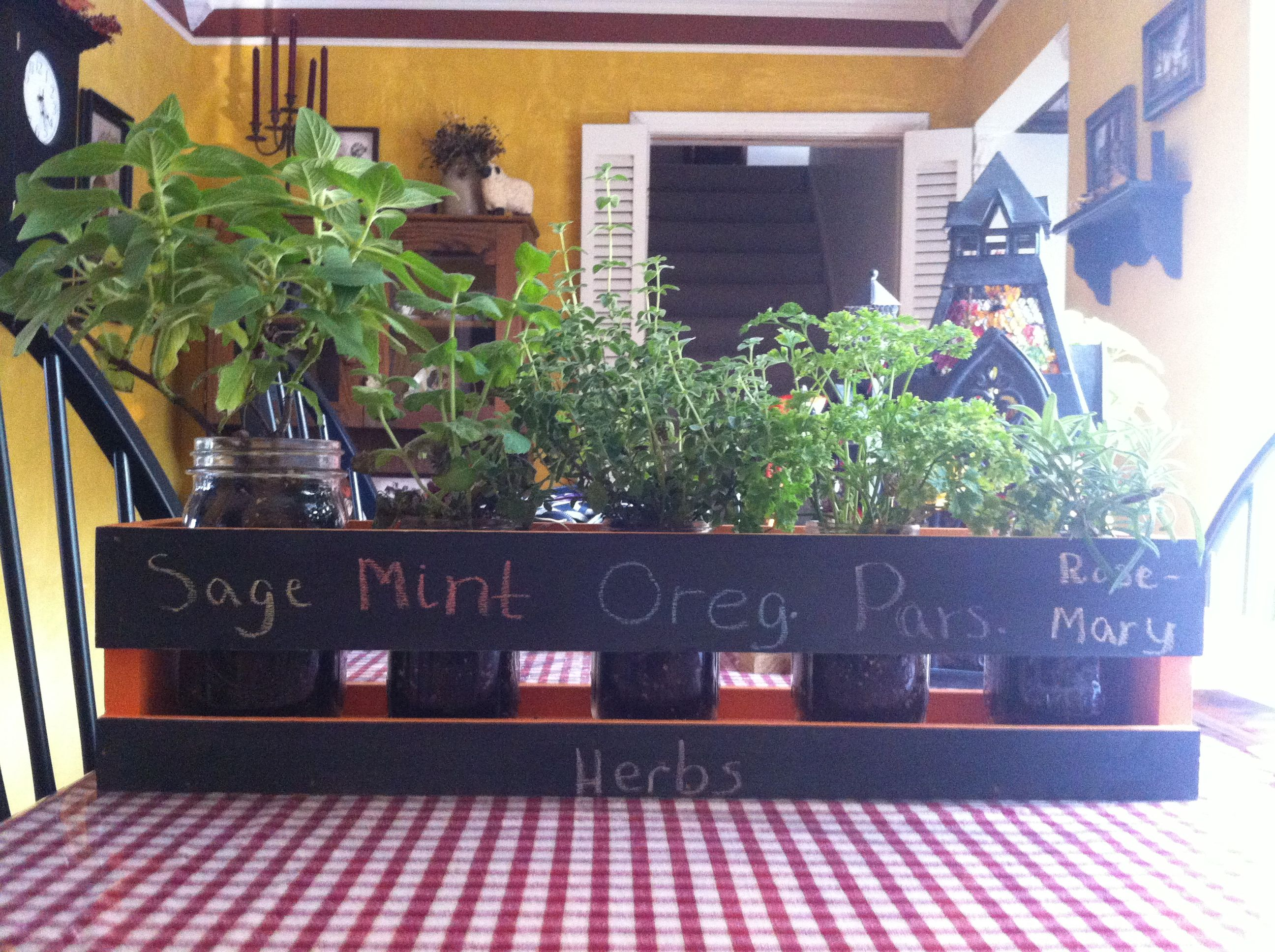 Really easy!!! Plant herbs in Mason Jar, build the planter box, paint the box, put the jars in the box, and leave in the house year round.