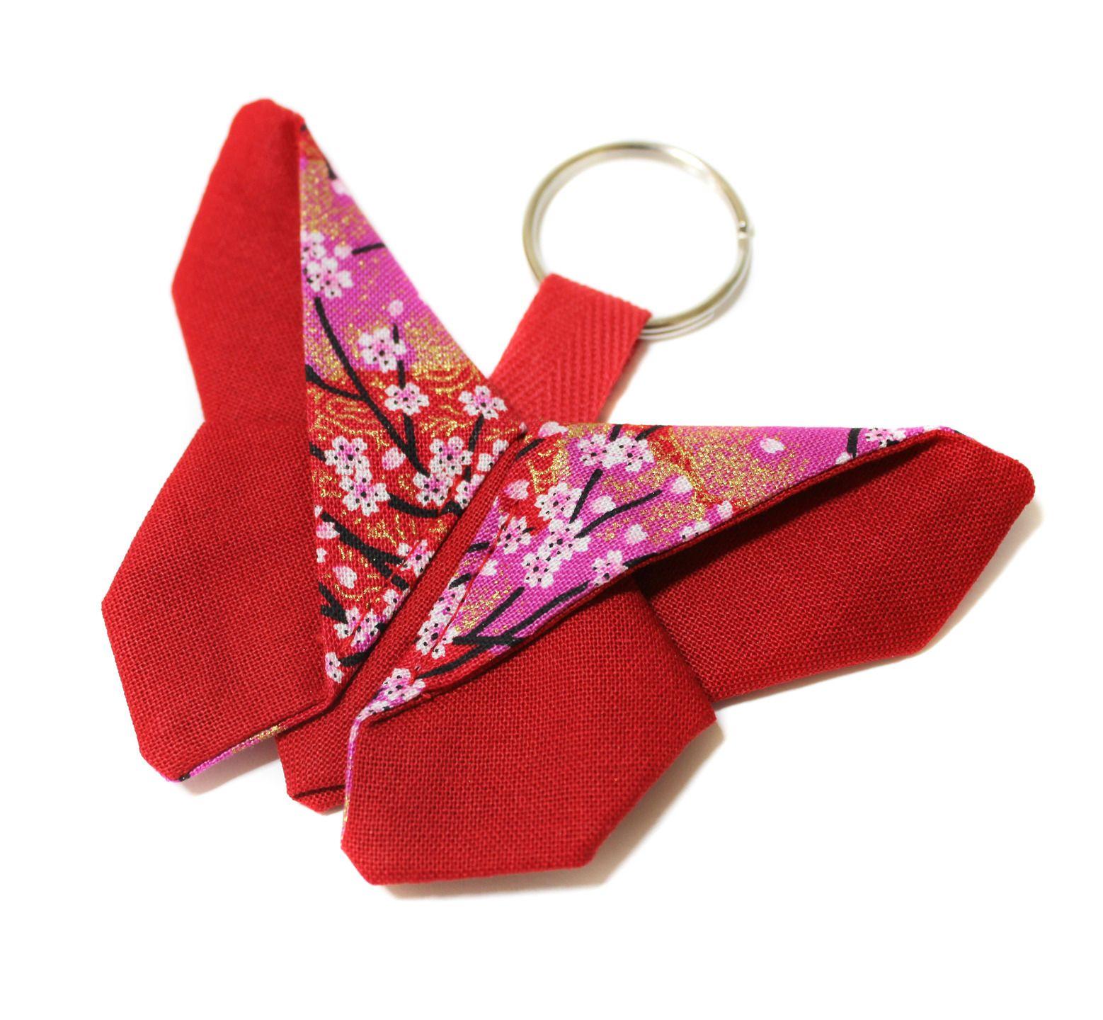 Gut bekannt porte-clés papillon en tissu japonais origami : Porte clés par  OZ81