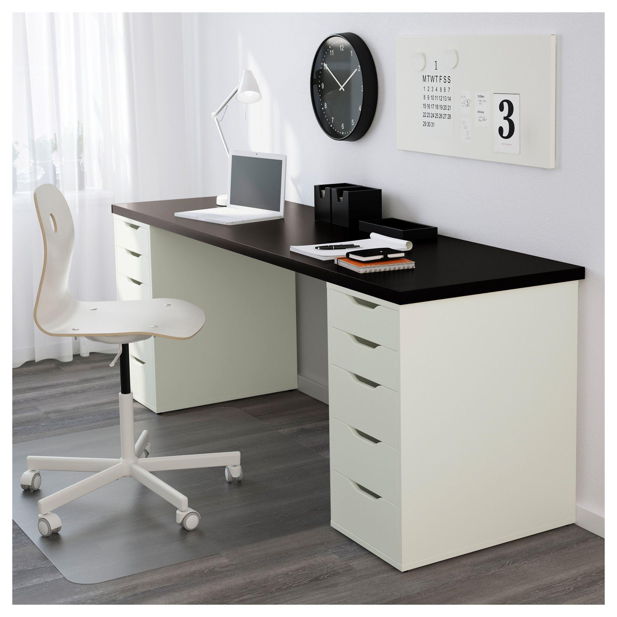 Table Linnmon Alex Black Brown White Renos Decoration Caisson A Tiroirs Tiroir Et Bureau Blanc Ikea
