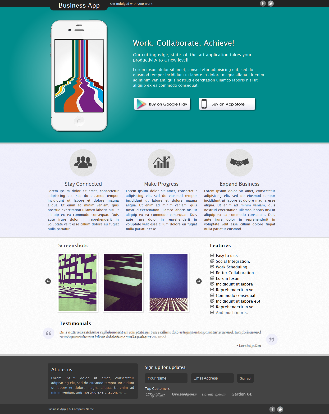 Business App Free Landing Page Psd Template Free Html