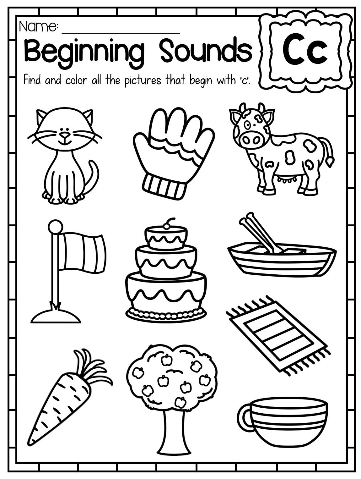 Beginning Sounds Worksheets Color by Sound Beginning